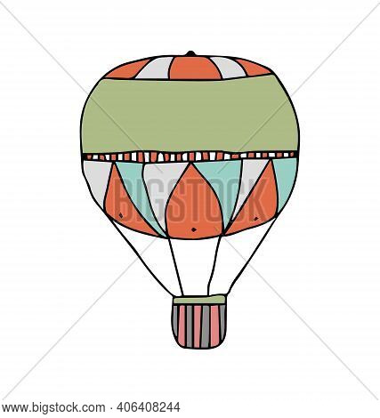Hot Air Balloon - Triangular Pattern - Side View - Cartoony Vector Isolated