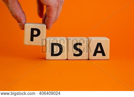 Pdca, Plan Do Check Act Symbol. Wooden Cubes With Words 'pdca, Plan Do Check Act'. Beautiful Orange