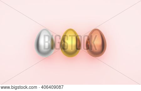 Three Easter Eggs On A Pink Background. 3d Rendering