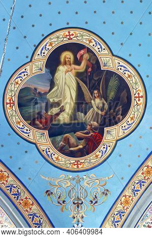 ZABOK, CROATIA - JULY 06, 2013: Resurrection of Christ, fresco in the parish church of Saint Helena in Zabok, Croatia