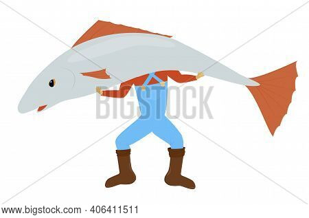 Man Standing And Holding Huge Gray Fish. Vector Cartoon Fisher Illustration Isolated On White Backgr