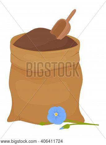 Flax Flour In Brown Fabric Bag Isolated On White Background. Healthy Eating Natural Ingredient. Cart