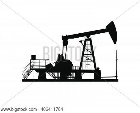 Oil Derrick (pump Jack). Petroleum-producing. Vector Black On White Silhouette
