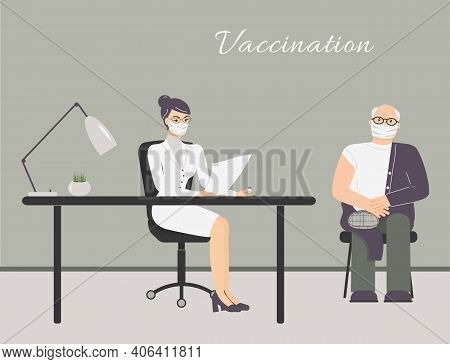 Coronavirus Vaccination In Doctor Office. Older Man In Protective Medical Mask Wait Grafting At Phys