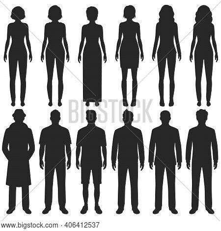 Vector Group Of Standing People Silhouettes, Sport Business And Fashion Persons