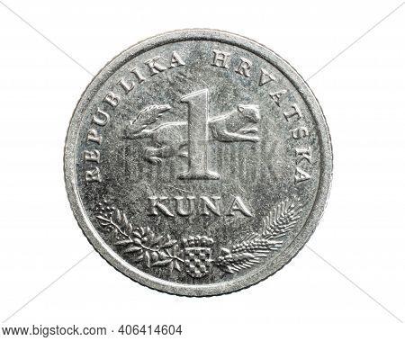 Croatia One Kuna Coin Isolated On White Background