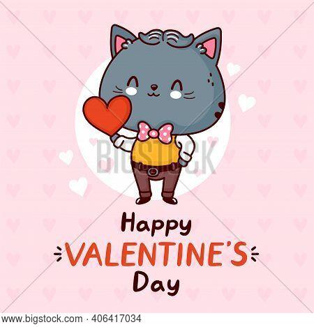 Cute Funny Gentlemen Cat With Heart. Happy Valentines Day Card. Vector Flat Line Cartoon Kawaii Char