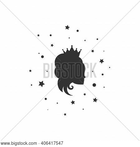 Beautiful Princess With Crown, Stars And Tinsel. Women's Elegant Silhouette With Beautifull Hairstyl
