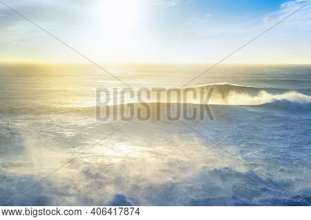 Seascape With Atlantic Ocean At Sunset. Nazare, Portugal