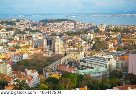 View Of Lisbon From Amoreias Abservation Deck. Lisbon, Portugal