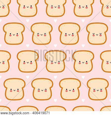 Cute Funny Bread Toast Seamless Pattern. Vector Flat Cartoon Kawaii Character Illustration Icon Desi