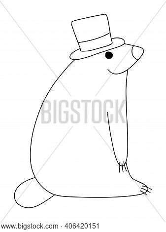Happy Groundhog Day Coloring Page For Kids Stock Vector Illustration. Childish Funny Cartoon Animal