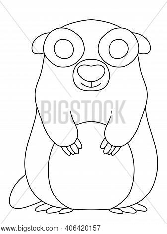 Happy Little Groundhog Stock Vector Illustration. Groundhog Day Funny Coloring Page For Kids And Adu