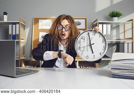Funny Stressed Employee Working Under Pressure And Trying To Cope With Deadlines