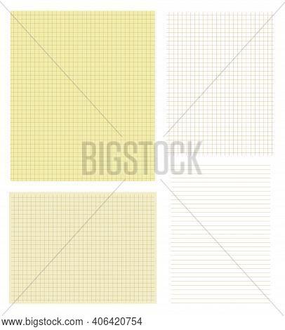 Beige, Brown Squared Grid Pattern Paper Vector Set Illustration. Paper Graph Lined Textures Backgrou