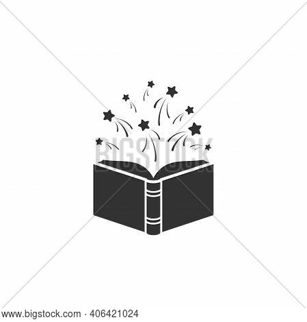 Open Book With Stars Or Fireworks Flying Out. Isolated On White Background. Flat Icon. Vector Illust