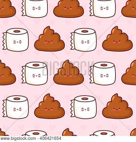 Cute Funny Poop And Toilet Paper Seamless Pattern. Vector Flat Cartoon Kawaii Character Illustration
