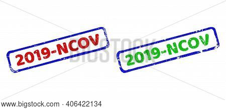 Vector 2019-ncov Framed Watermarks With Corroded Style. Rough Bicolor Rectangle Seal Stamps. Red, Bl