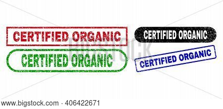 Certified Organic Grunge Seal Stamps. Flat Vector Scratched Watermarks With Certified Organic Messag