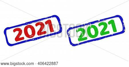 Vector 2021 Framed Watermarks With Corroded Texture. Rough Bicolor Rectangle Watermarks. Red, Blue,