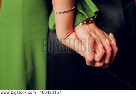 Interracial Lesbian Women Hold Hands And Embrace Each Other Have Different Skin Conditions Stand Aga