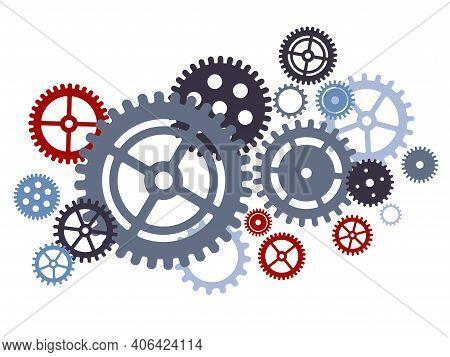 Gear Cog Wheels Set Compilation Teamwork Concept