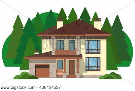 Beautiful Modern Two-story Building With Green Spruce Trees. The Facade Of Brick House With A Balcon