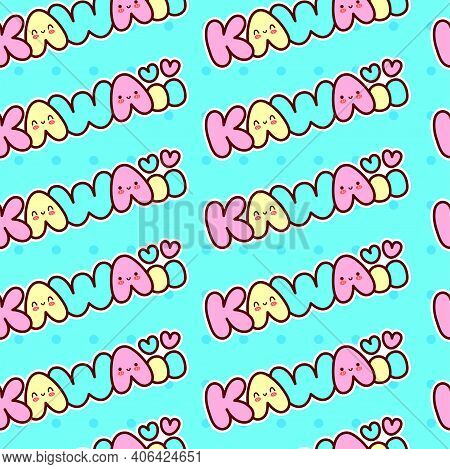 Cute Funny Kawaii Word With Smile Face Seamless Pattern. Vector Flat Line Cartoon Character Illustra