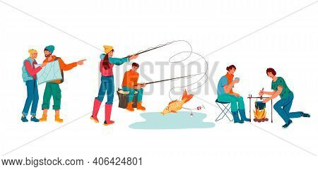 Set Of Young Romantic Couples During Hiking And Camping Adventure, Flat Vector Illustration Isolated