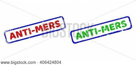 Vector Anti-mers Framed Imprints With Scratched Surface. Rough Bicolor Rectangle Seal Stamps. Red, B