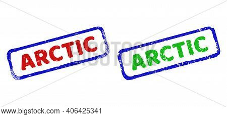 Vector Arctic Framed Watermarks With Corroded Style. Rough Bicolor Rectangle Watermarks. Red, Blue,