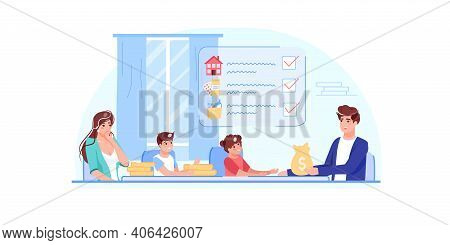 Vector Cartoon Flat Family Characters With Gold Coins.parents Kids Discussing Home Budget Finance Ma