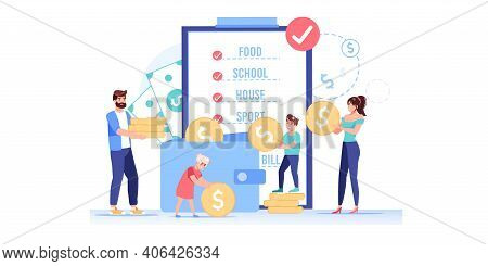 Vector Cartoon Flat Happy Family Characters Put Gold Coins In Wallet.parents Kids Makes Home Budget