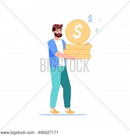 Vector Cartoon Flat Character Carry Gold Coins In Hands.man Saving Money-home Budget Finance Managem