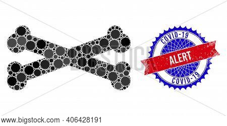 Bones Vector Collage Of Sharp Rosettes And Covid-19 Alert Dirty Seal. Bicolor Covid-19 Alert Seal Us
