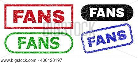Fans Grunge Seal Stamps. Flat Vector Scratched Seal Stamps With Fans Message Inside Different Rectan
