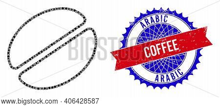 Cacao Bean Vector Mosaic Of Sharp Rosettes And Arabic Coffee Corroded Stamp Seal. Bicolor Arabic Cof