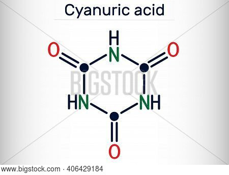 Cyanuric Acid Molecule. It Is Triazine, Enol Tautomer Of Isocyanuric Acid. Skeletal Chemical Formula