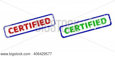 Vector Certified Framed Rubber Imitations With Grunge Style. Rough Bicolor Rectangle Stamps. Red, Bl