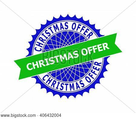 Vector Christmas Offer Bicolor Template For Imprints With Clean Surface. Flat Clean Seal Template Wi