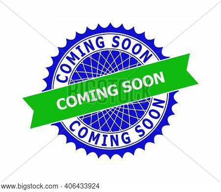 Vector Coming Soon Bicolor Template For Rubber Imitations With Clean Surface. Flat Clean Stamp With