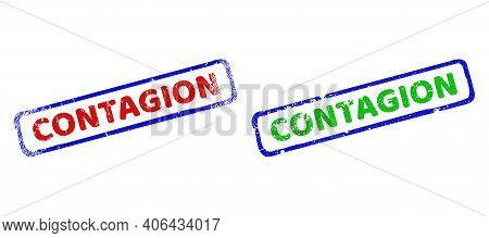 Vector Contagion Framed Watermarks With Grunge Texture. Rough Bicolor Rectangle Watermarks. Red, Blu
