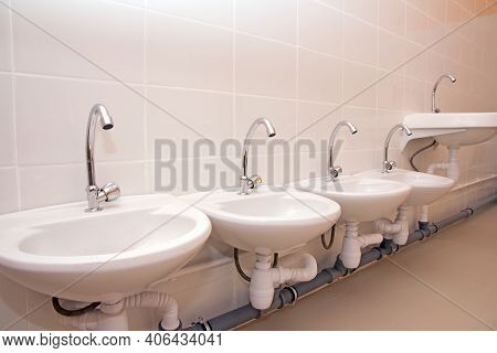 Children's Hygiene In A Preschool Institution. Toilet In Kindergarten. Toilet In Kindergarten.