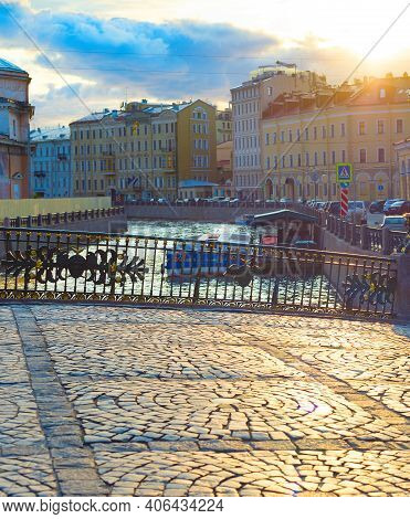 View Of Saint-petersburg Pavement Street In Old Town At Sunset. Russia