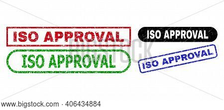 Iso Approval Grunge Seals. Flat Vector Textured Seals With Iso Approval Message Inside Different Rec