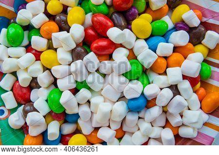 Mixed Marshmallow Candies With Sugar, Banana Jelly Candies, Background With Sweets, Marshmallow Figu