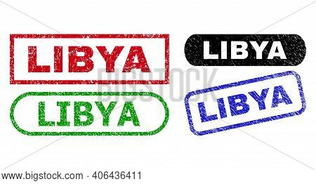 Libya Grunge Seal Stamps. Flat Vector Grunge Seal Stamps With Libya Tag Inside Different Rectangle A