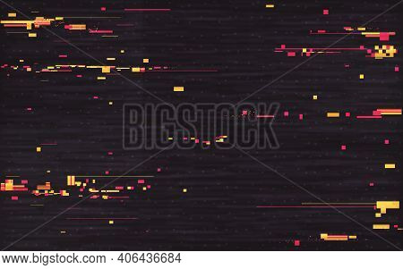 Glitch Composition. Digital Distortion Effect. Abstract Geometric Shapes And Elements. Video Glitch