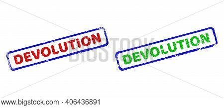 Vector Devolution Framed Watermarks With Scratched Style. Rough Bicolor Rectangle Seals. Red, Blue,