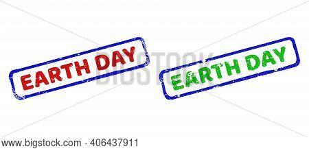 Vector Earth Day Framed Watermarks With Scratched Surface. Rough Bicolor Rectangle Watermarks. Red,